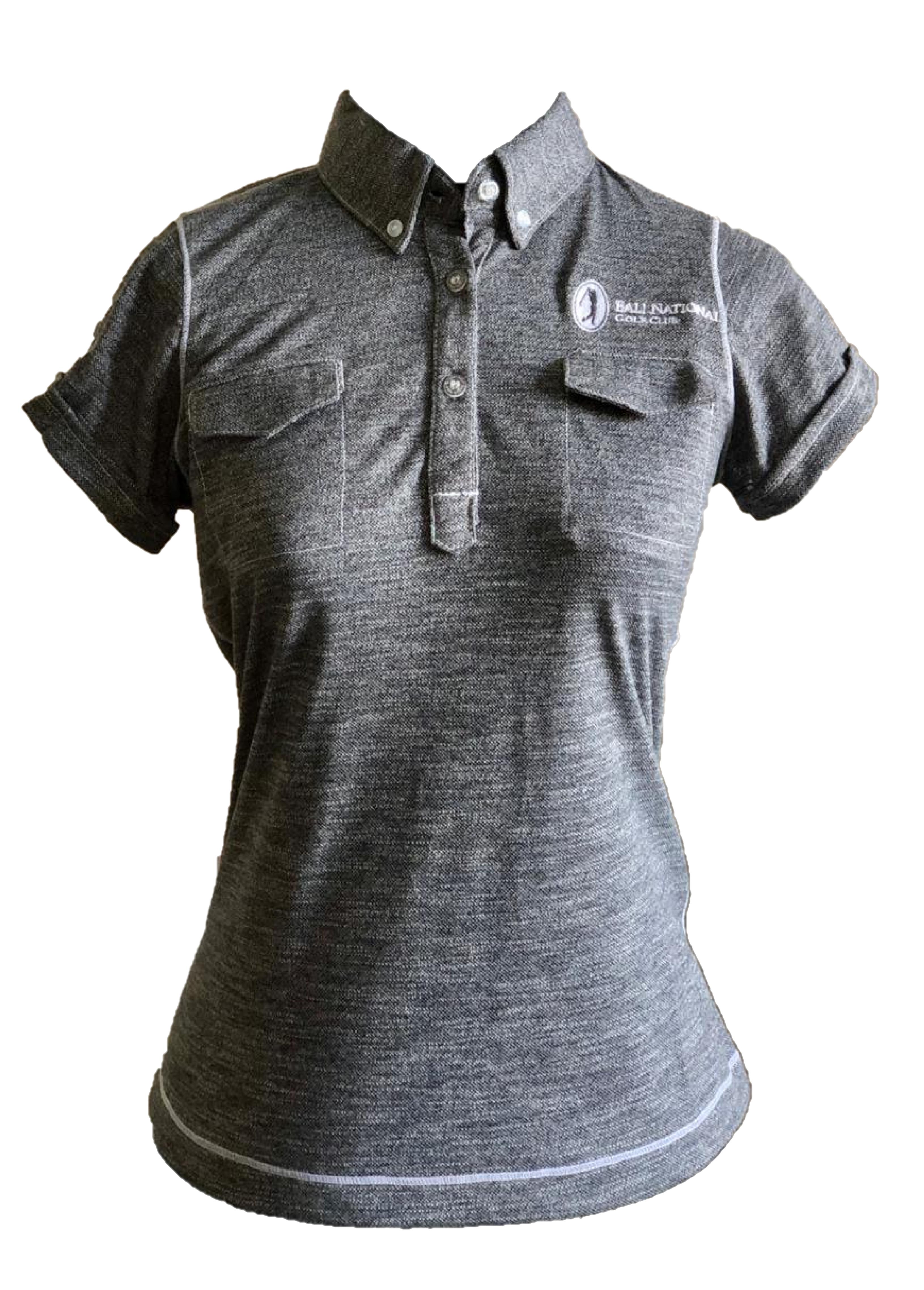 LT-063G // Ladies Top Dark Grey  Linen Texture 2 Pocket  Button Collar
