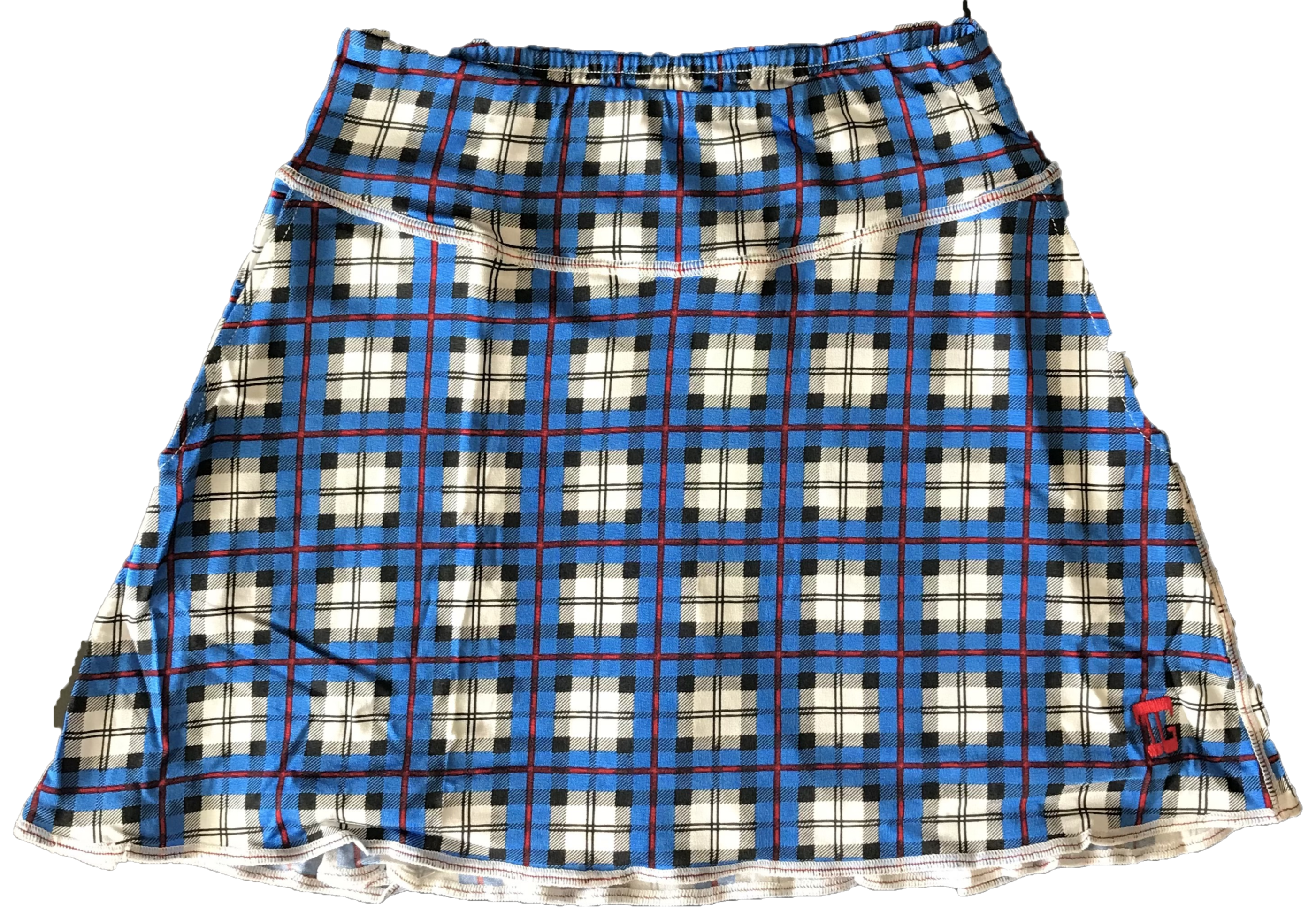 LS-043D    Skirt Blue With  Red Lined Black, Grey & White Tartan Motif 2 Side Pockets & Pleated Rear Panel
