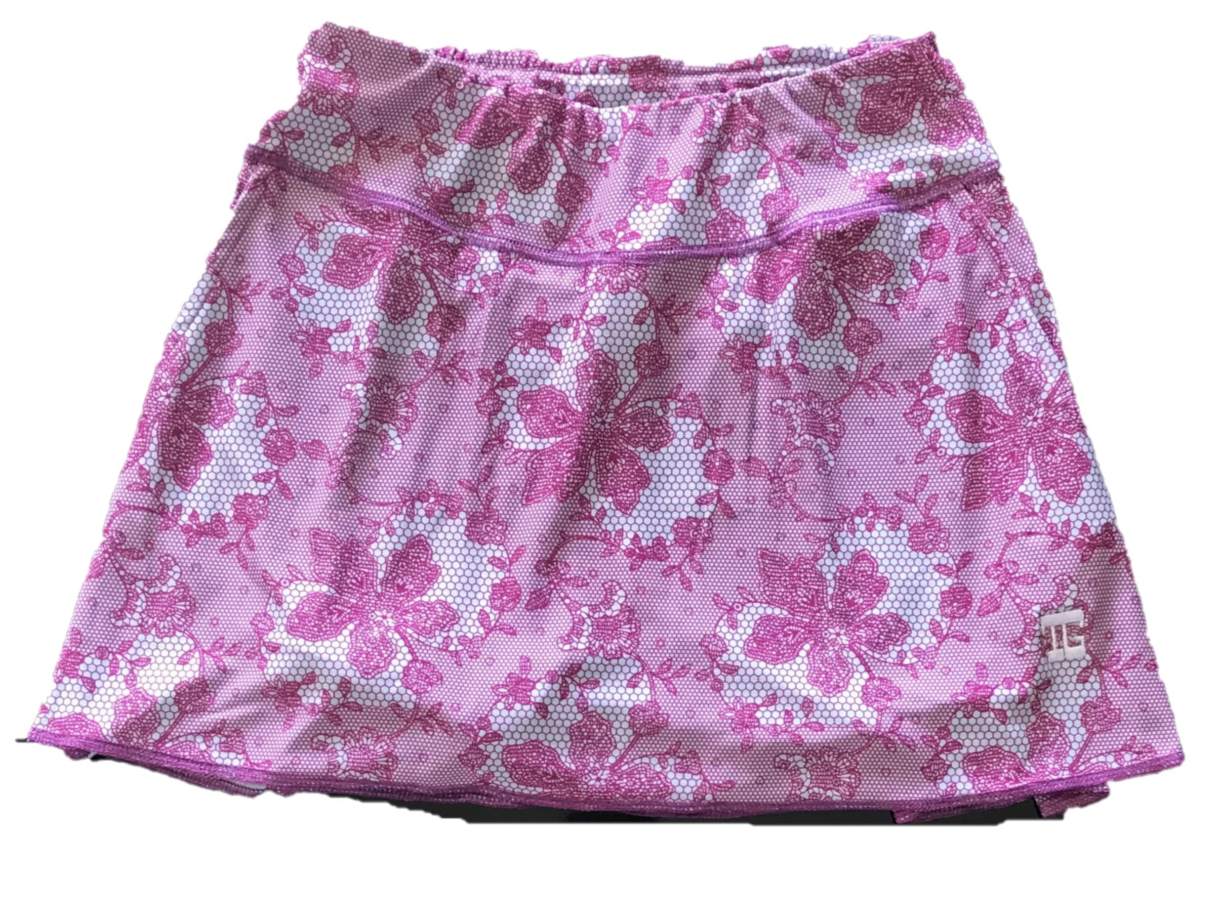 LS-043 || Skirt  White With Purple  Flower Pattern 2 Rear Pleats