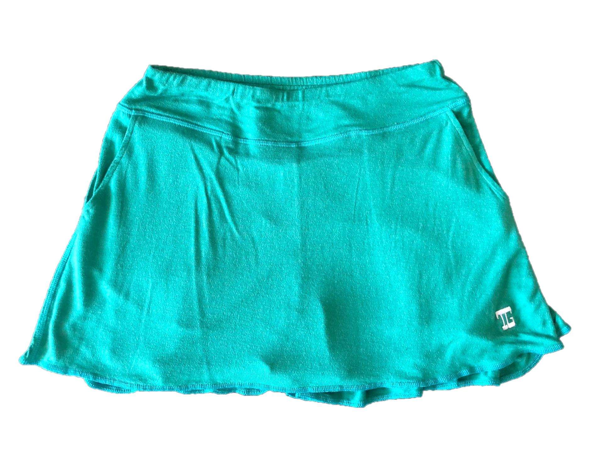 LS-042F    Skirt Green With Rear Swing Pleat Panel 2 Side Pockets & Light Green Overlock Trim