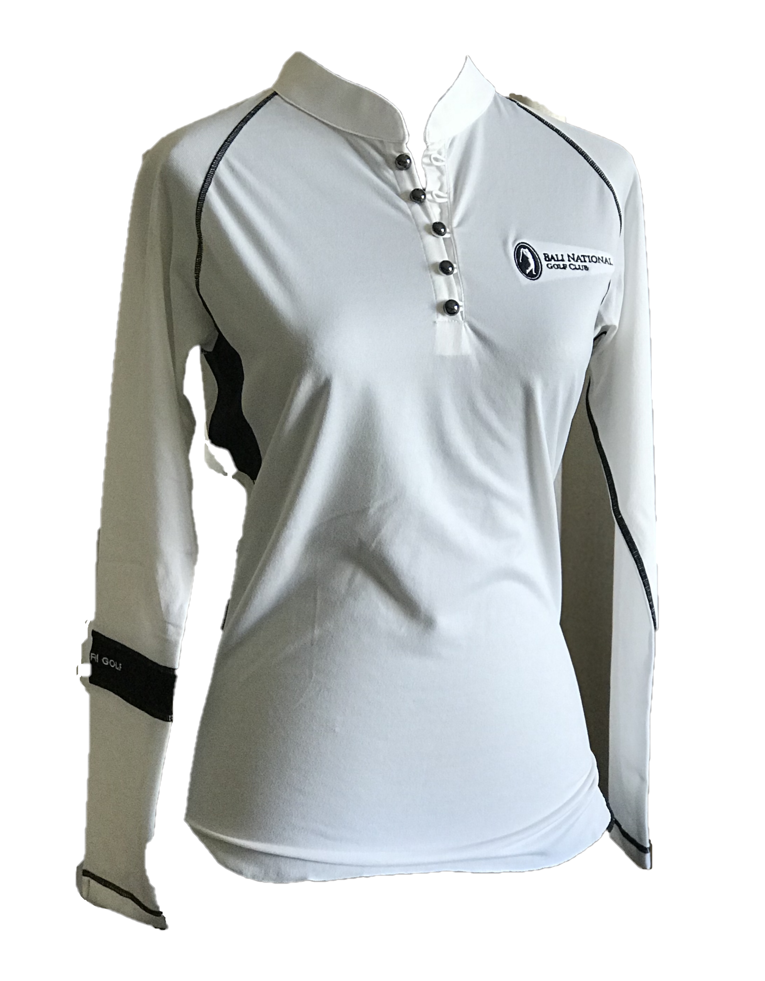 LT-072 || Ladies Top White With Button Mandarin Neck & Black Band One Arm Long Sleeve