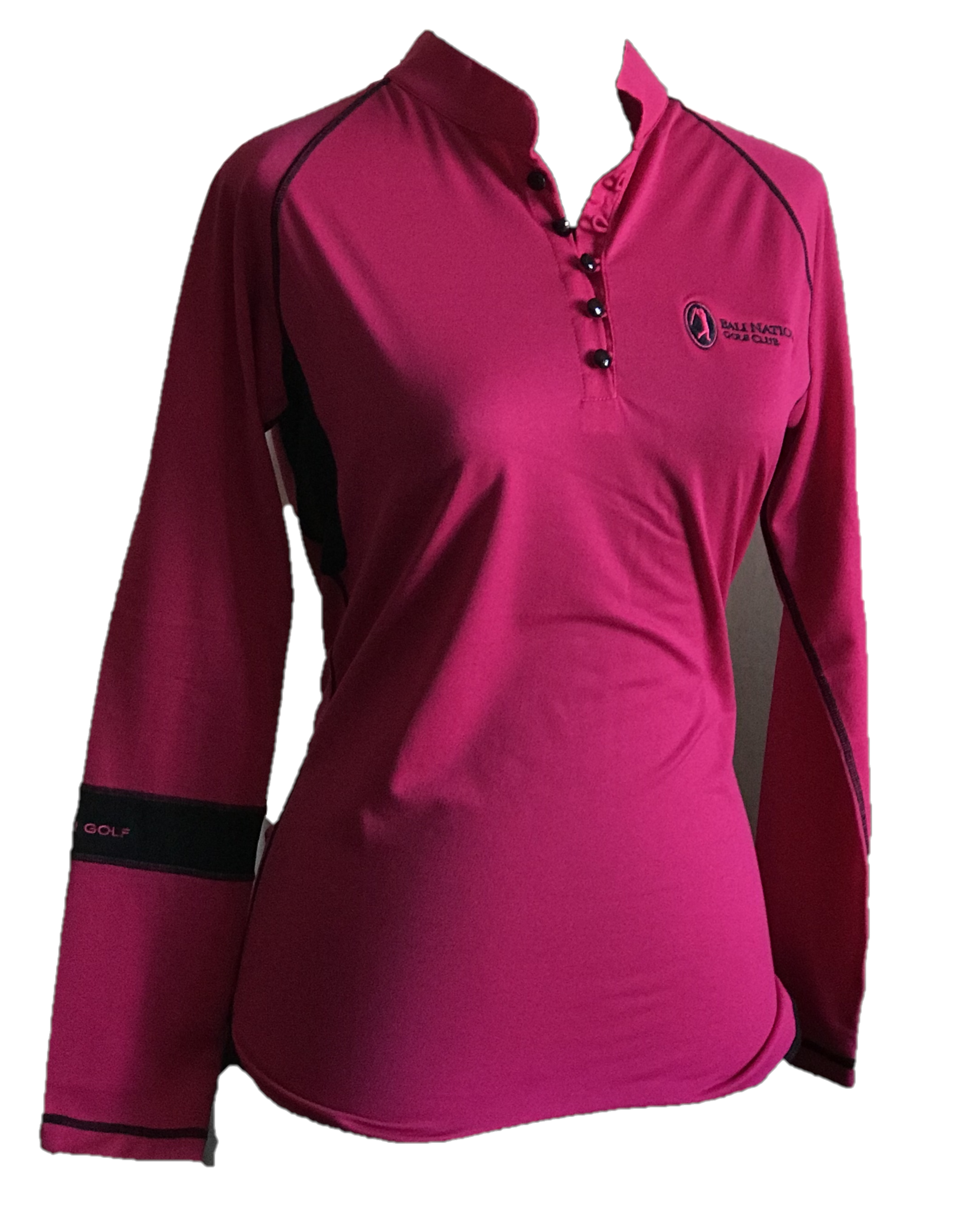 LT-072B || Ladies Top Pink With Button Mandarin Neck & Black Band One Arm Long Sleeve