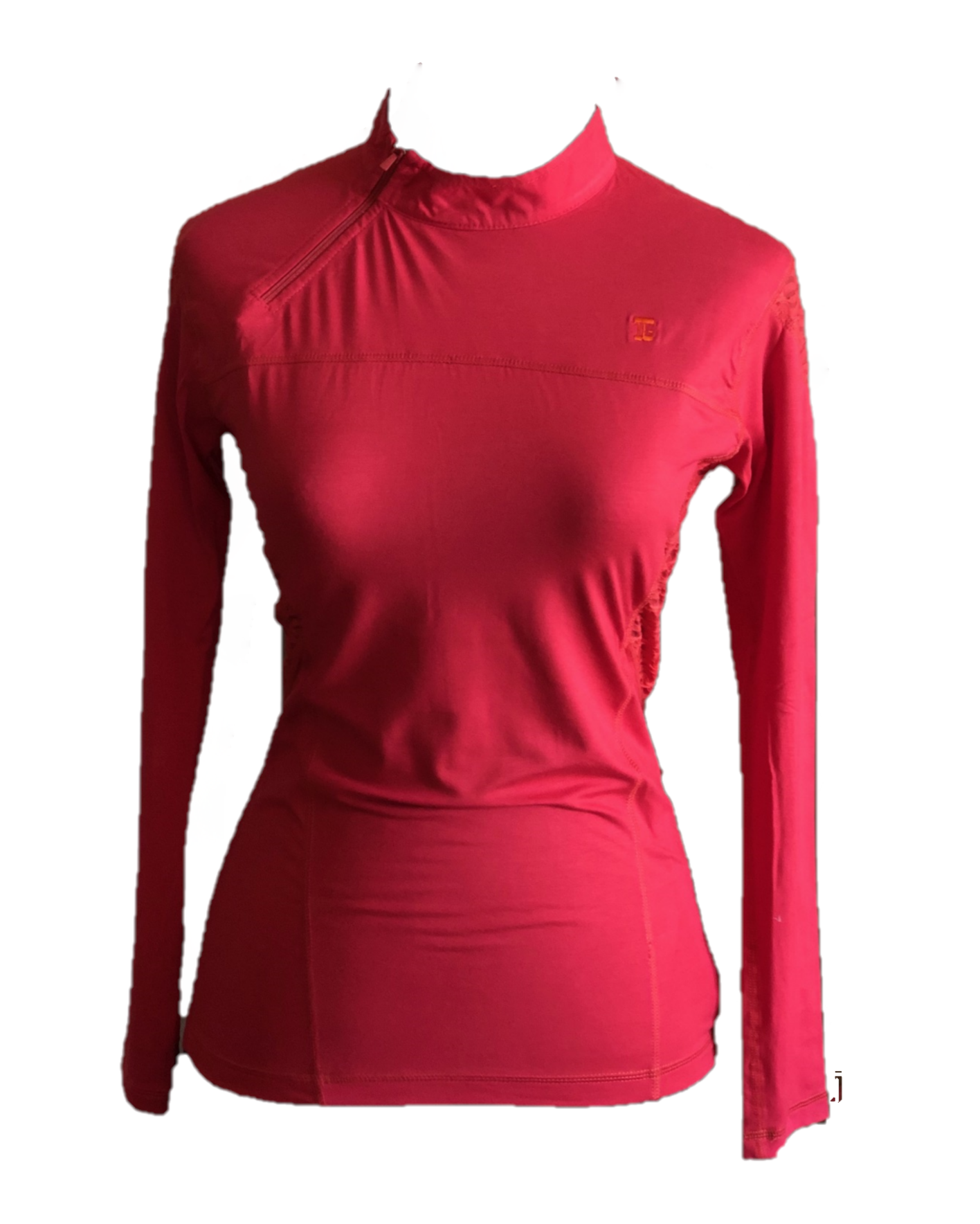 LT-071B || Ladies Top Dark Orange/Pink Angel Zip Round Neck