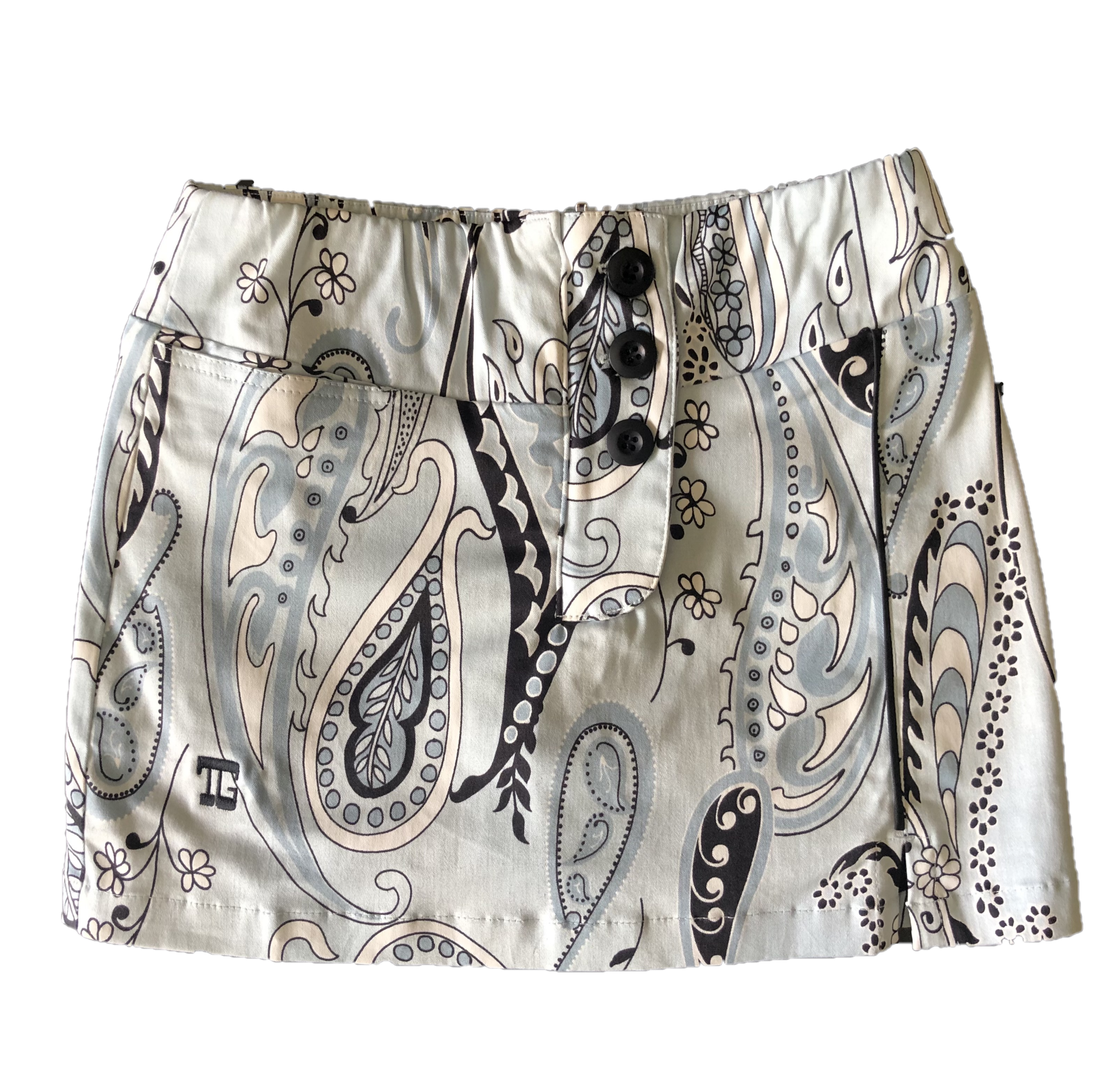 LS-063    Skirt Pale Blue With Black Modern Batik Design
