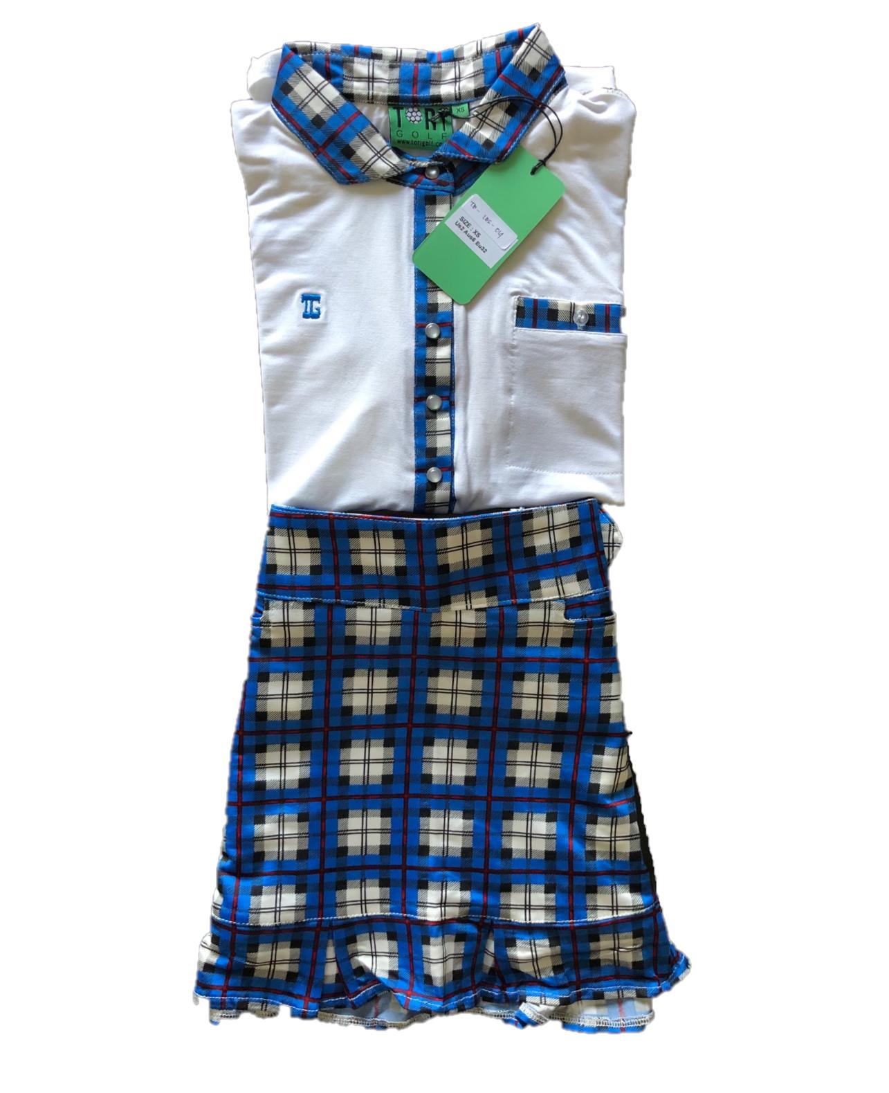LGS-014    Ladies Golf Skirt & Top 3/4 Sleeve White With Blue & Black Tartan Trim 6 Pearl Snap Fasteners – Skirt Blue Black & White Tartan Squares With Red Borders