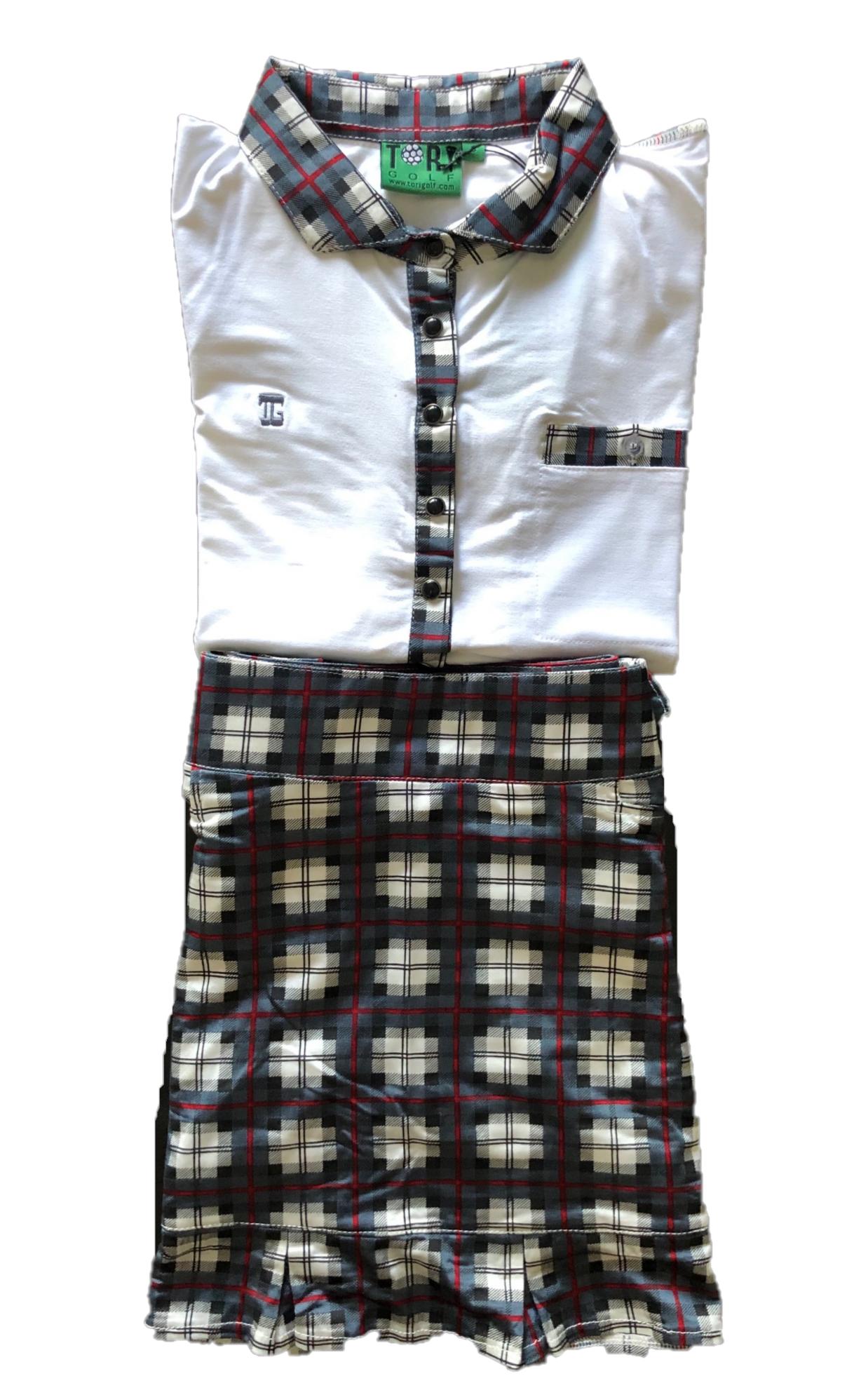 LGS-014B    Ladies Golf Skirt & Top 3/4 Sleeve White With Grey  & Black Tartan Trim 6 Pearl Snap Fasteners – Skirt Grey With Black & White Tartan Squares With Red Borders