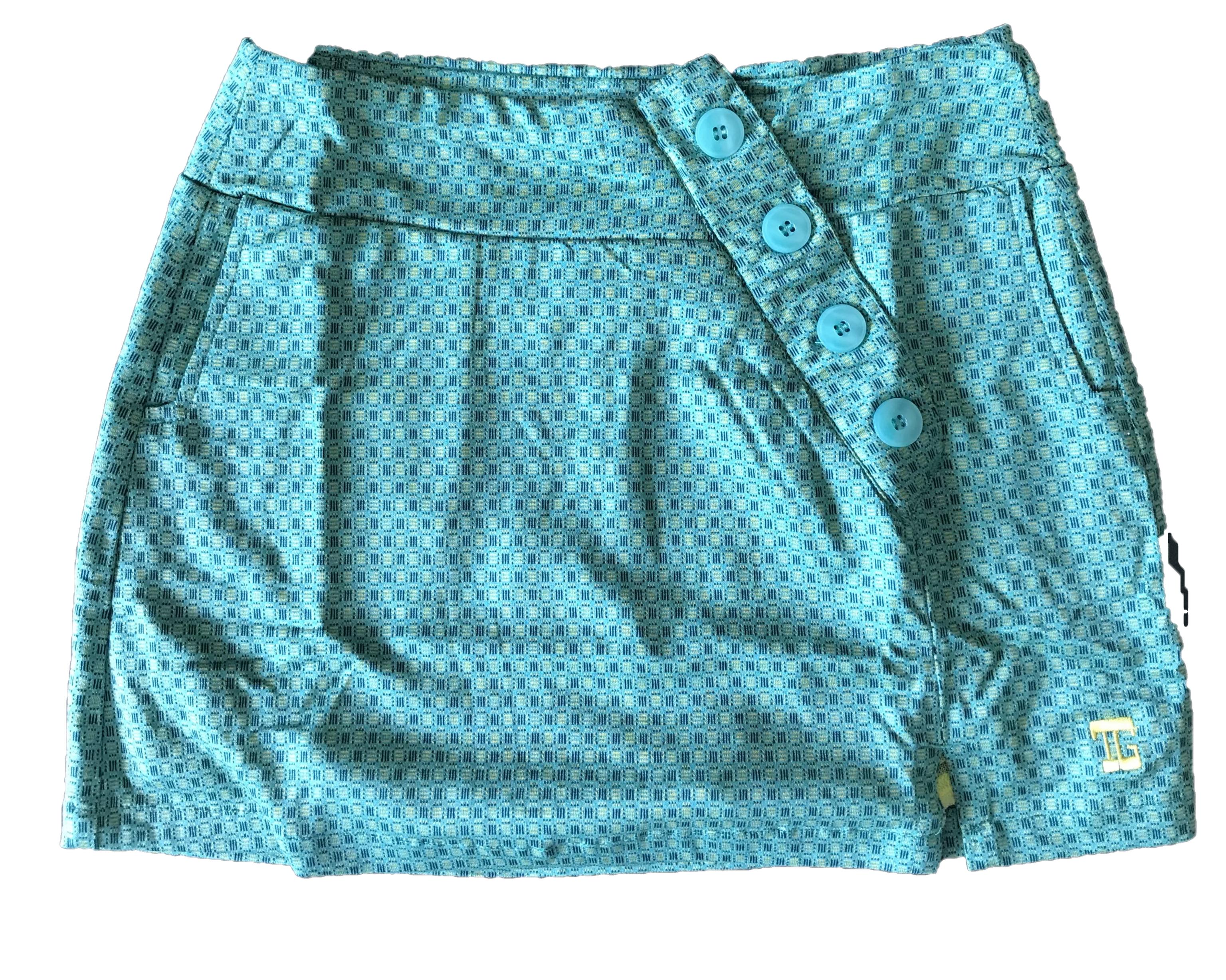 LS-059H    Skirt Dark Green With 3 White Horizontal And 3 Dark Blue Vertical Short Line Motif.  4 Decorative Buttons Conceal The Skirt Zipper
