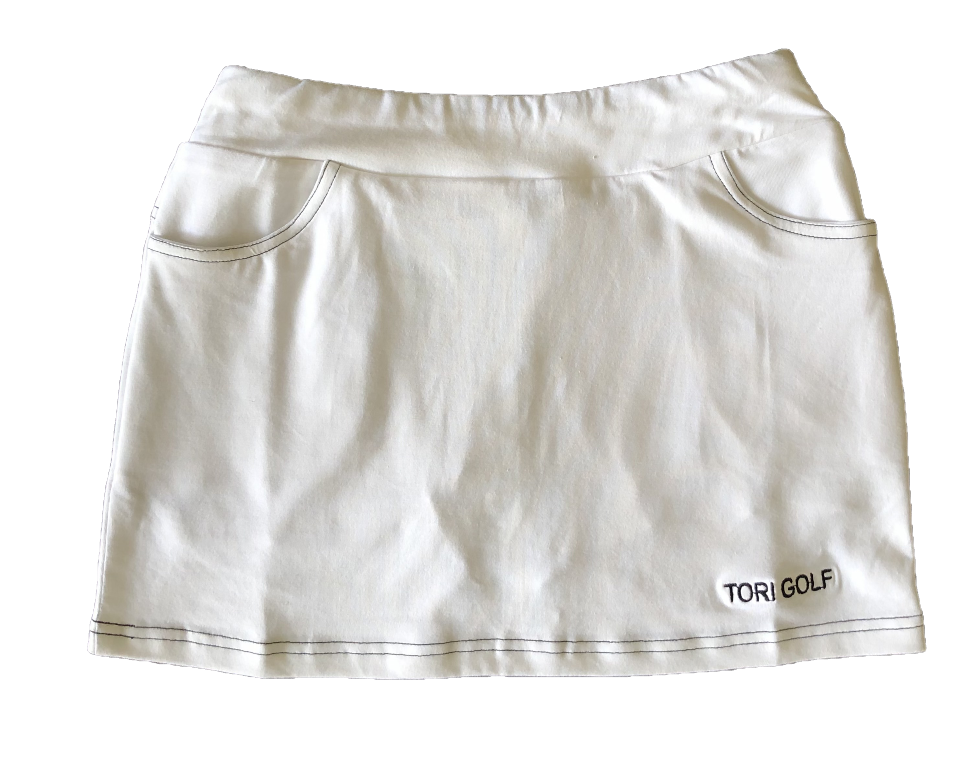 LS-061A    Skirt White 2 Front & 2 Rear Pockets With Black Stiching