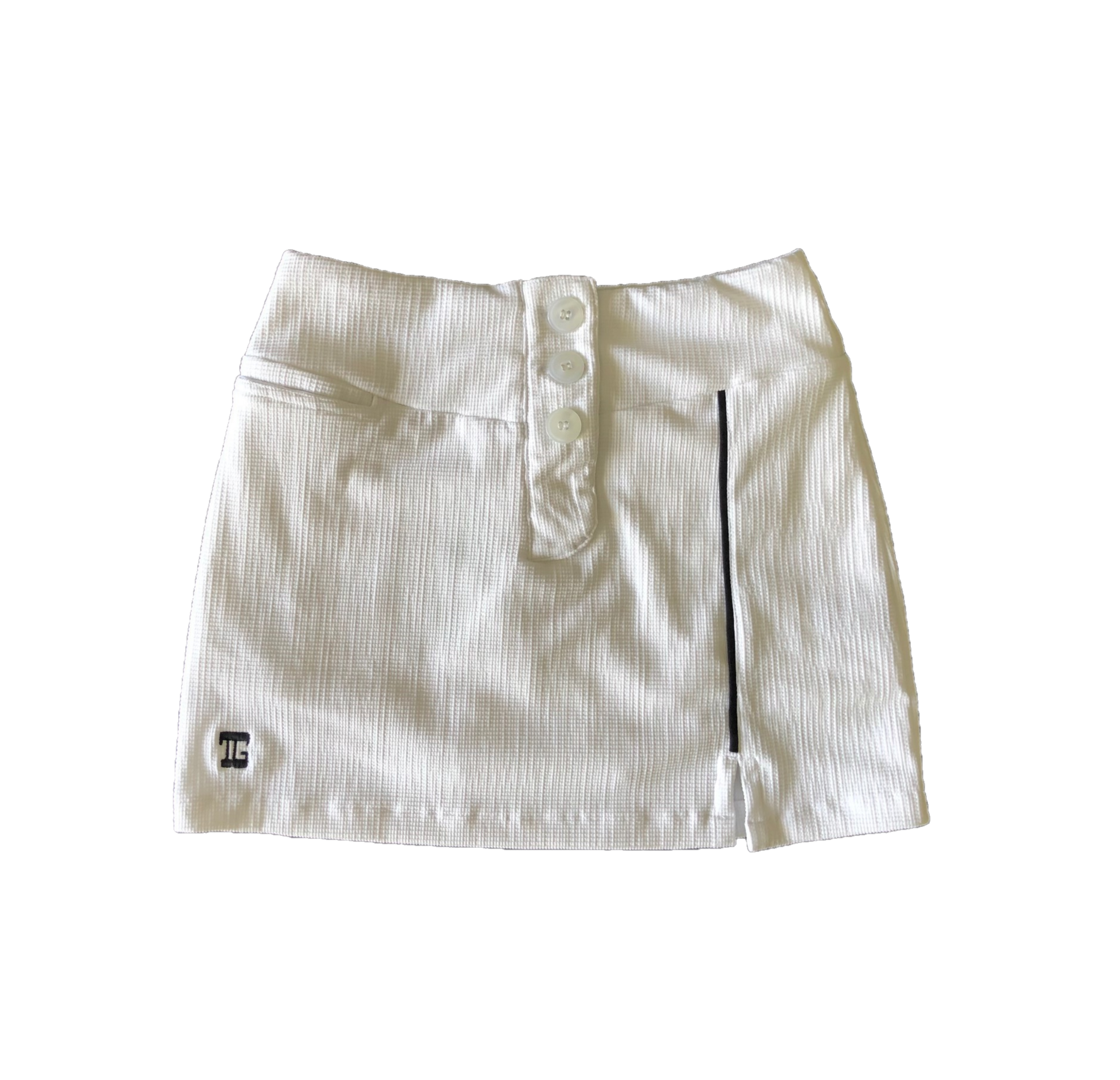 LS-063A    Skirt White Crocodile Texture With 3 Buttons And Black Piping
