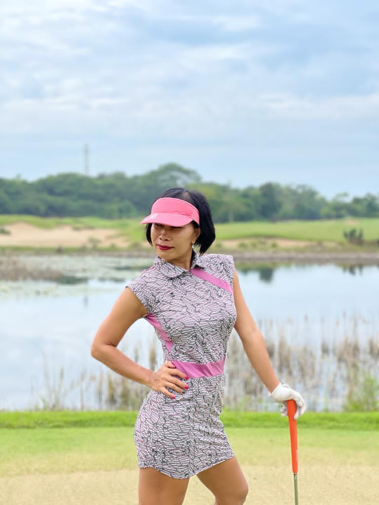 GD-011    Golf Dress Mauve, Light Green & Black Modern Batik  With Mauve Waist Sash & Shoulder Slash  Very Short Sleeve