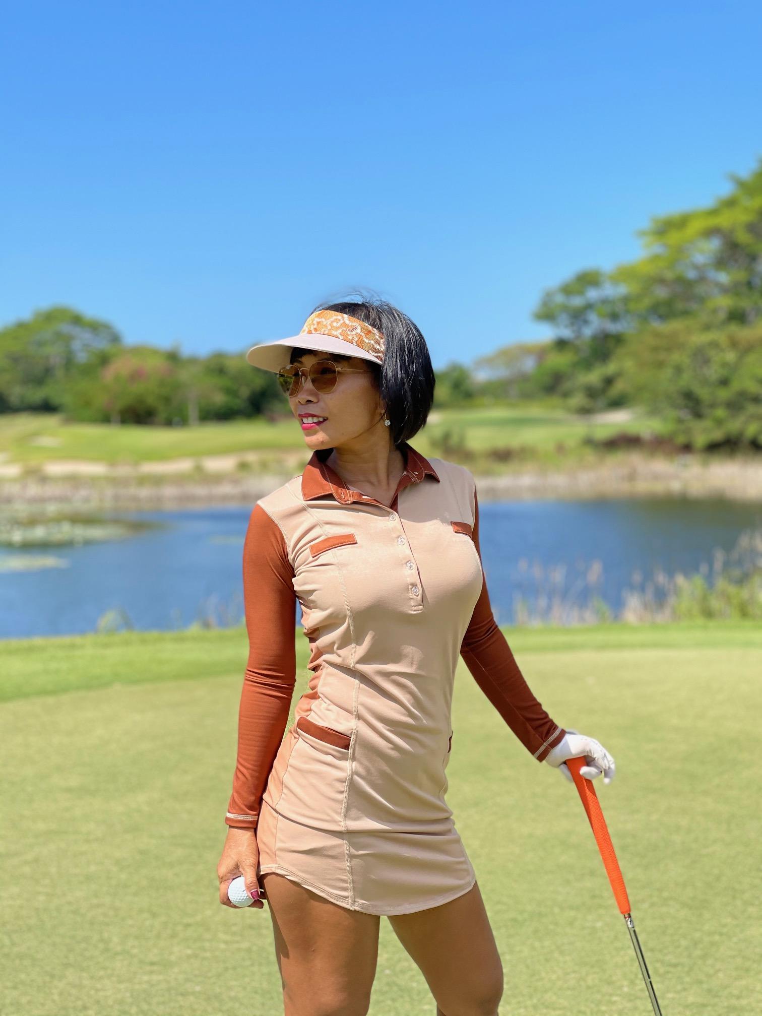 GD-012    Golf Dress Fawn With Dark Brown 2 Tone Front  LS 2 Reverse Tone Rear Mock Breast Pocket Trims W 2 Waist Pockets
