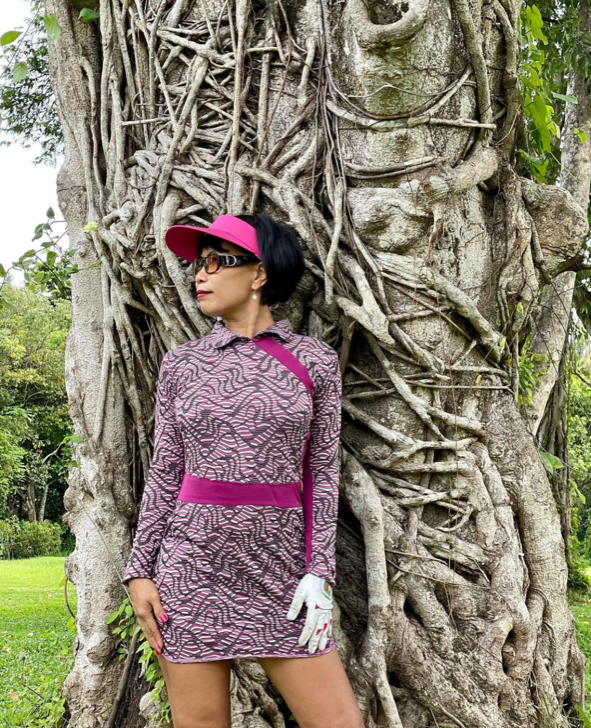 GD-010C    Golf Dress Light Mauve With Dark Pink & Brown Modern Batik Maroon Waist Sash & Shoulder Slash