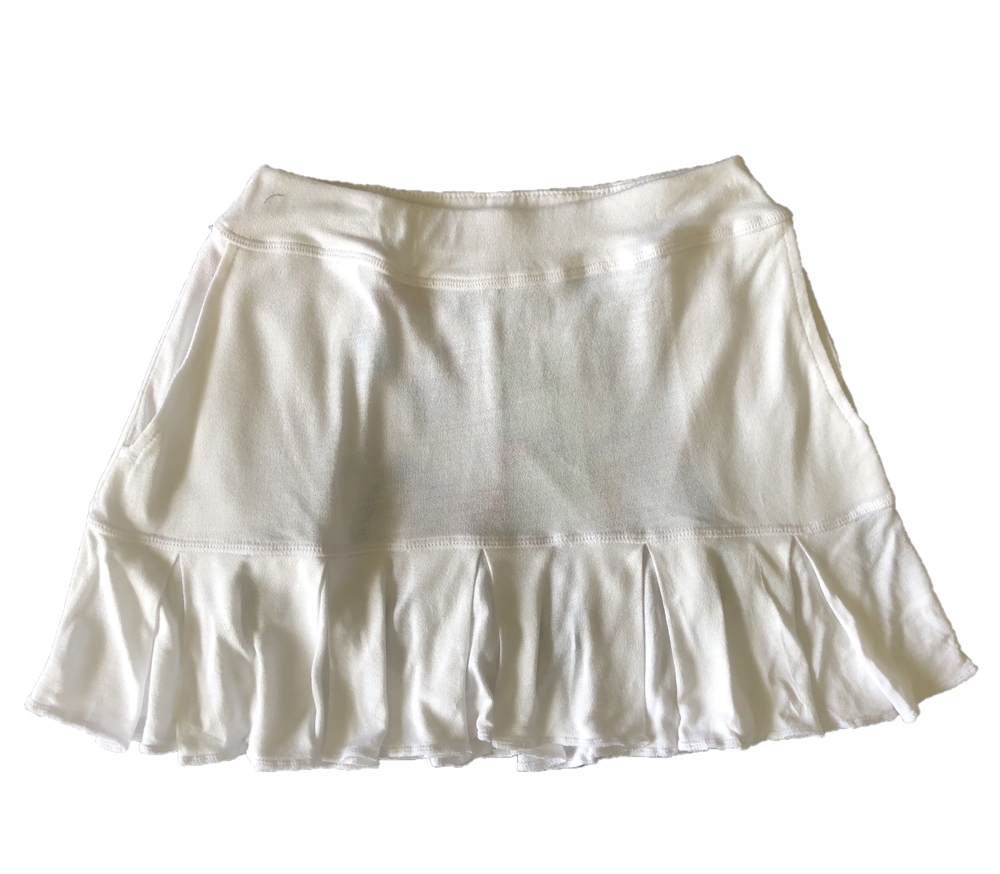 LS-064    Skirt Ultra Soft Feel White With All Around Swing Pleats And 2 Rear Pockets
