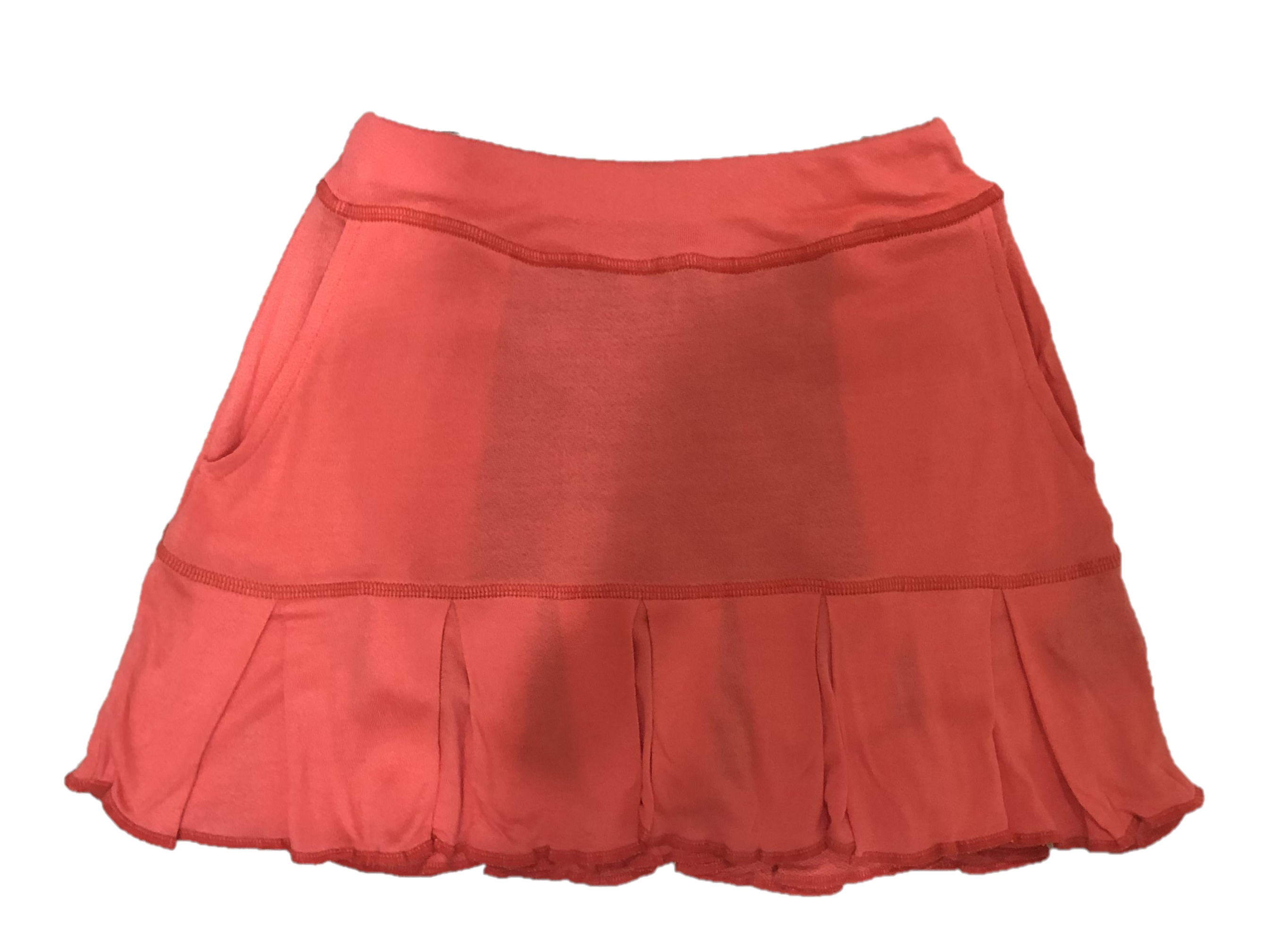 LS-064A    Skirt Ultra Soft Feel Tangerine With All Around Swing Pleats And 2 Rear Pockets
