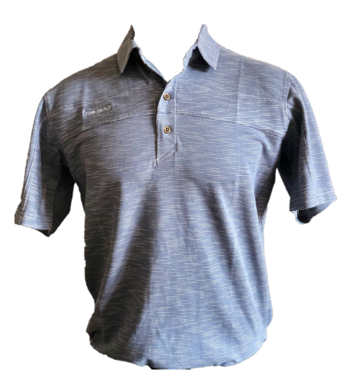 MT-017A || Men Top Grey With Fine White Horizontal Wave