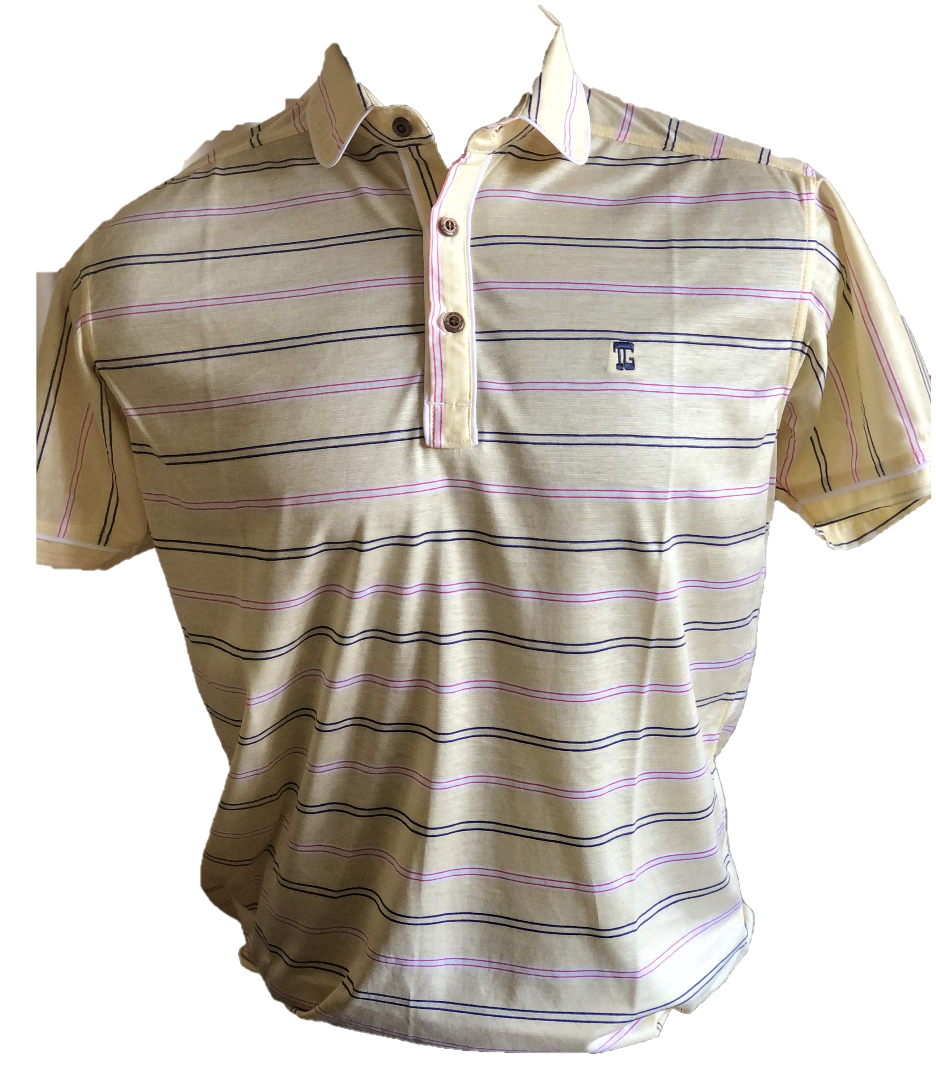 MT-027B || Men Top Yellow With Pink / Navy Double Horizontal  Dashed Stripes