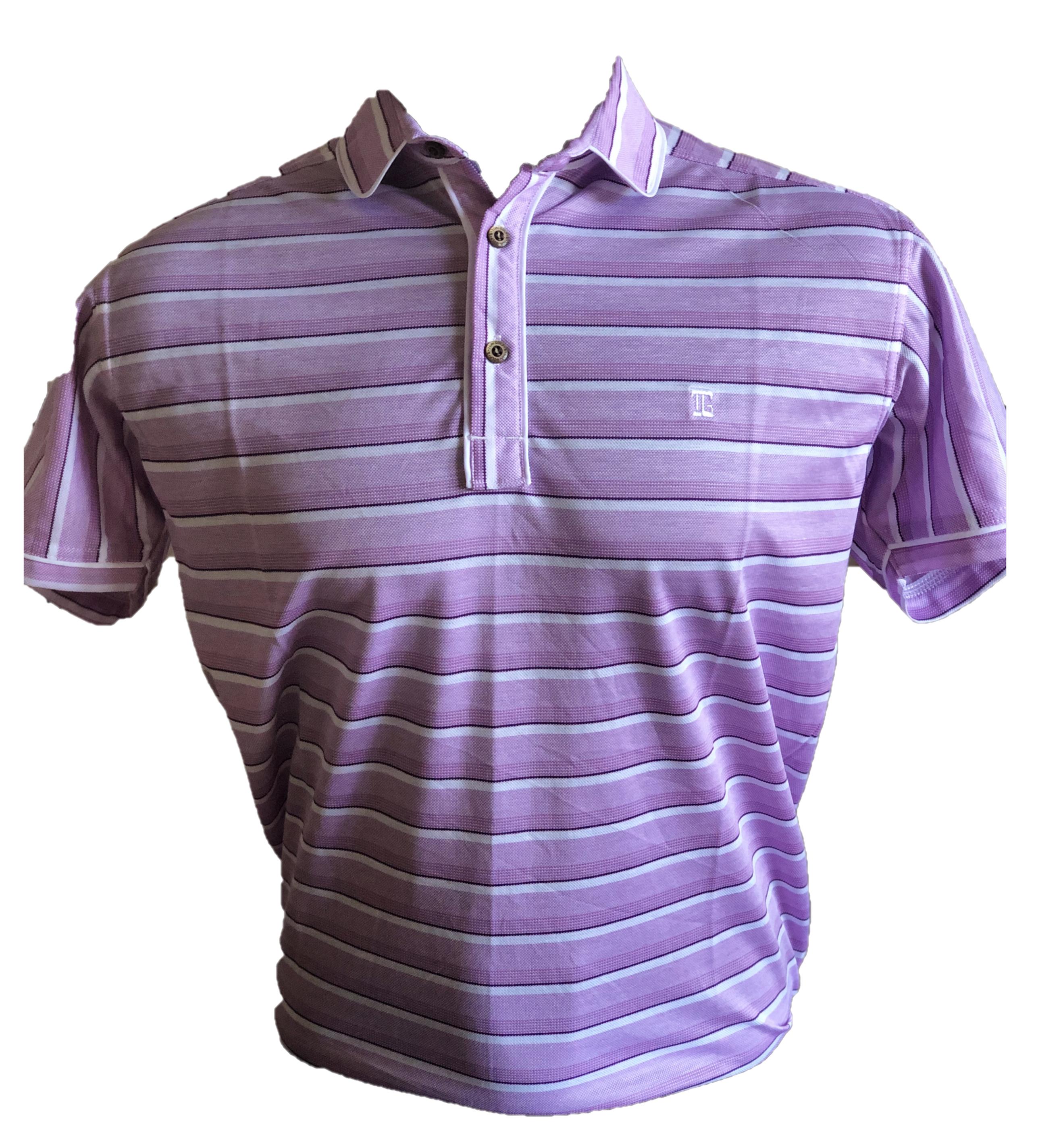 MT-028D || Men Top Bright Purple / White Horizontal  Stripe Combination