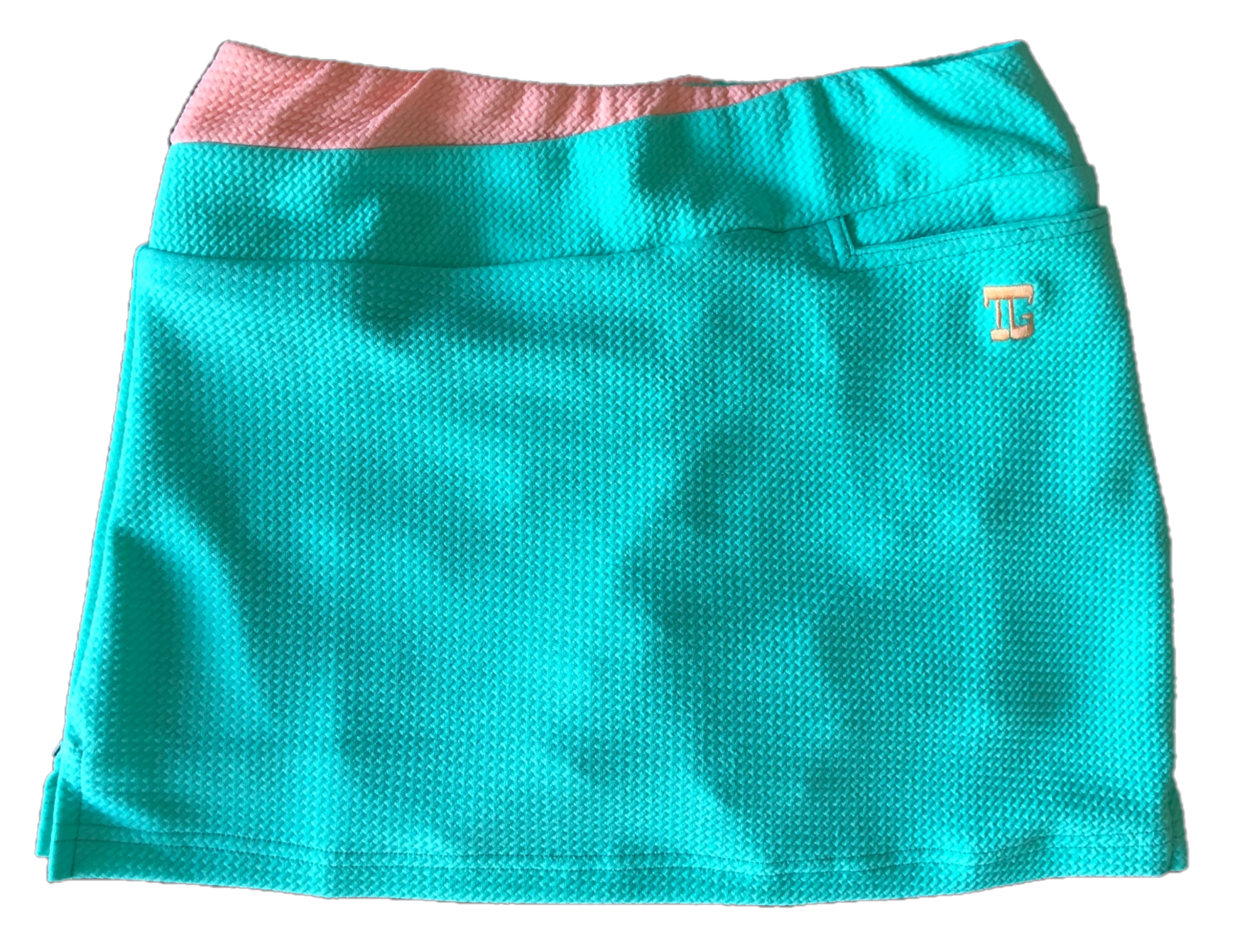 LS-062A    Ladies Skirt Mid Green Bubble Seersucker  Texture Pale Orange Waist Flash With One Front And 2 Rear Pockets
