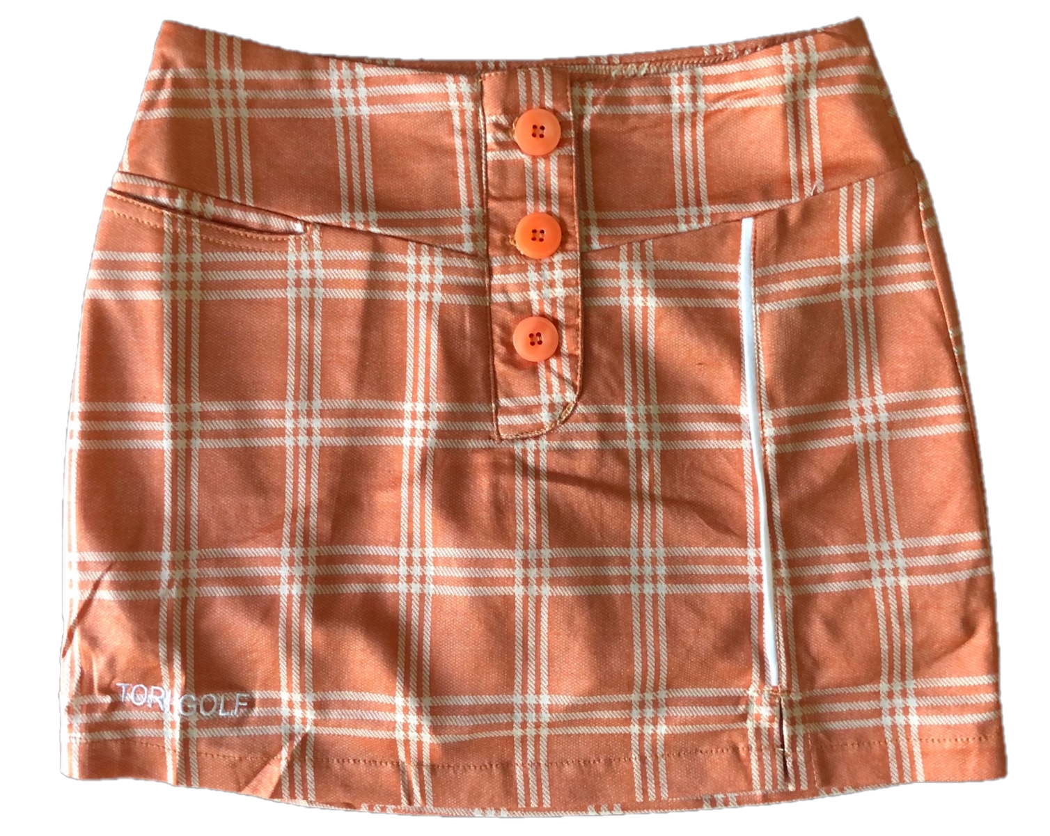 LS-063D    Ladies Skirt  Burnt Orange With White Triple Lined Square Outlines And One Piped White Vertical Stripe 3  Buttons Concealing Zip Fastening 2 Rear Pockets One Front Pocket