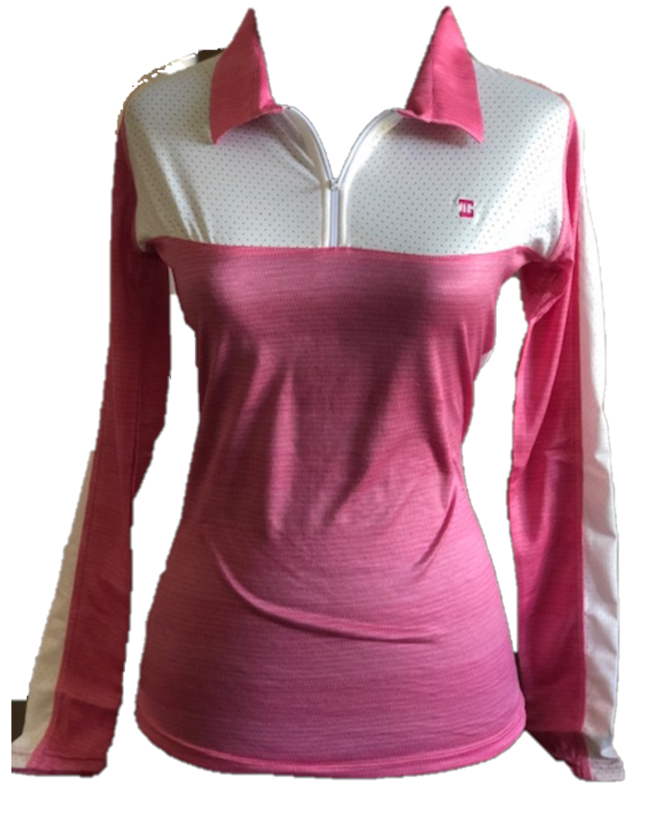 TG-LT-094D    Ladies Top Long Sleeve Dark Pink With White Front Chest Panel White Underarm Side Panels Outer Sleeve White Panel / Stripe Full Length.  Zipper Neck