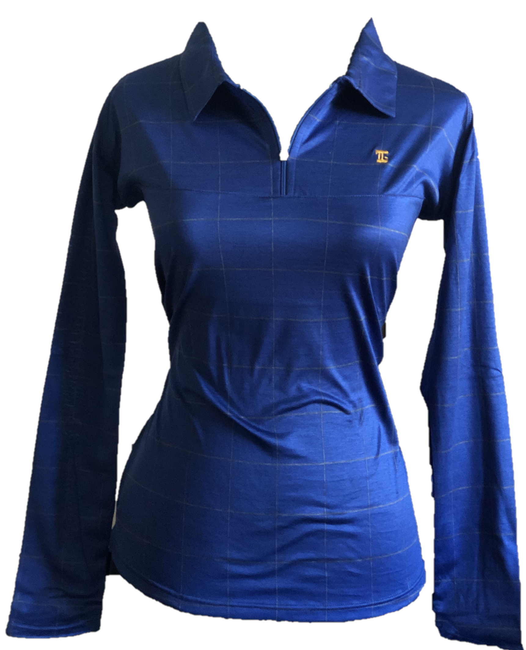TG-LT-095B    Ladies Top Dark Blue  Long Sleeve With Yellow Fine Lined Horizontal And Vert Large Square Boundary Outlines & Zipper Neck