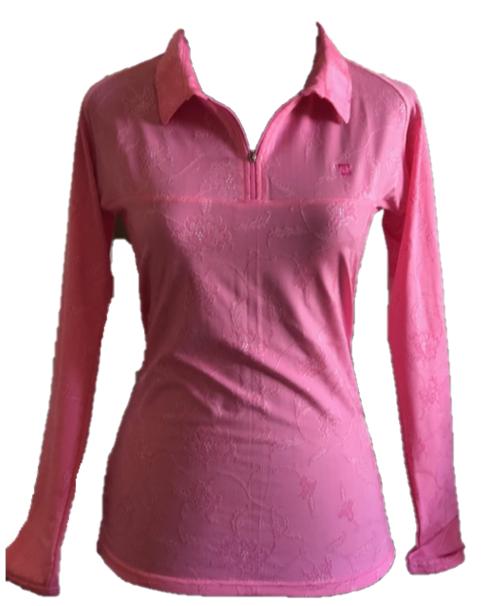 TG-LT-095D    Ladies Top Long Sleeve Bright Pink With Embossed Floral Motif