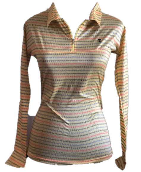 TG-LT-095E    Ladies Top Long Sleeve Pale Yellow Blue, Black And Orange Small Chain Link Horizontal Rows . Zipper Neck