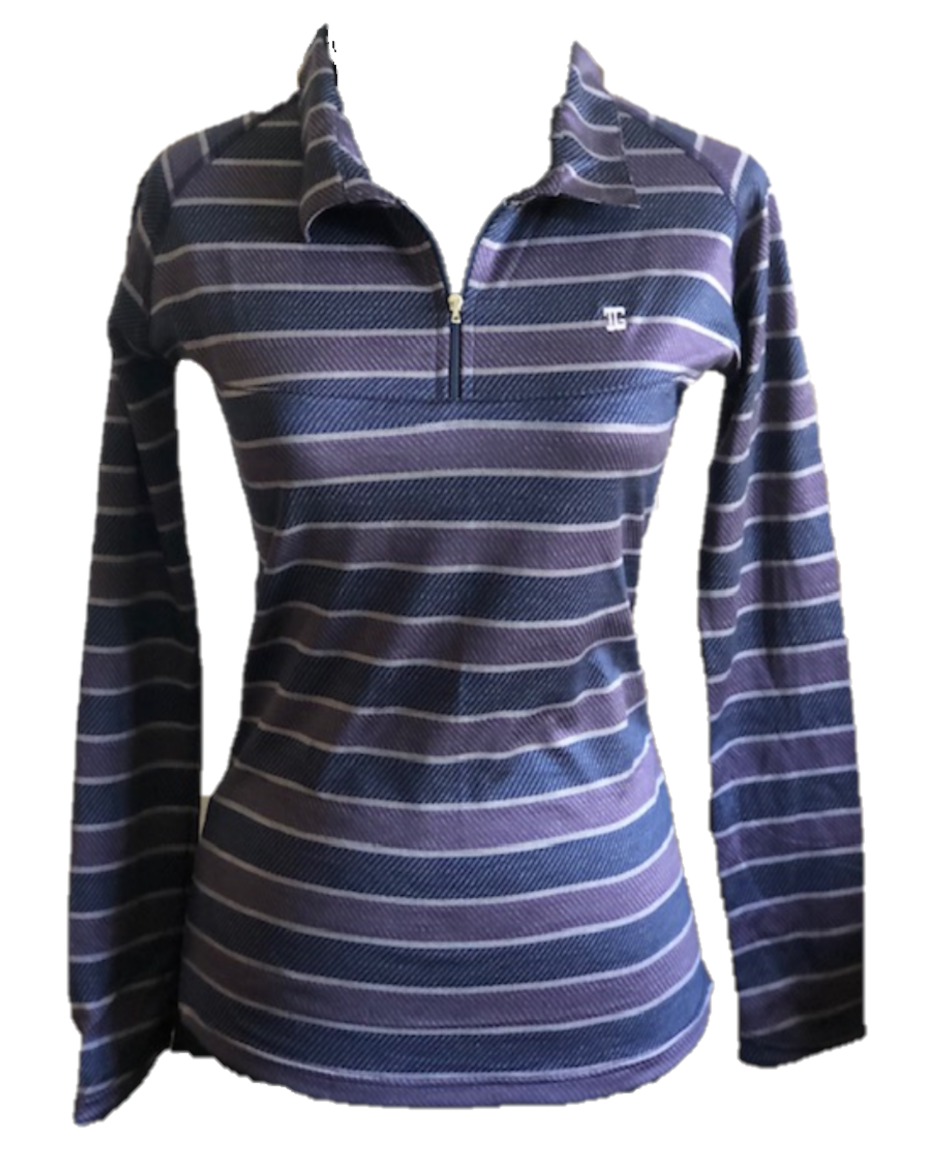 TG-LT-095F    Ladies Top Long Sleeve Charcoal Grey And Dark Mauve Broad Horizontal Herringbone Patterned Bands Separated By Light Grey Thin Horizontal Lines. Zipper Neck