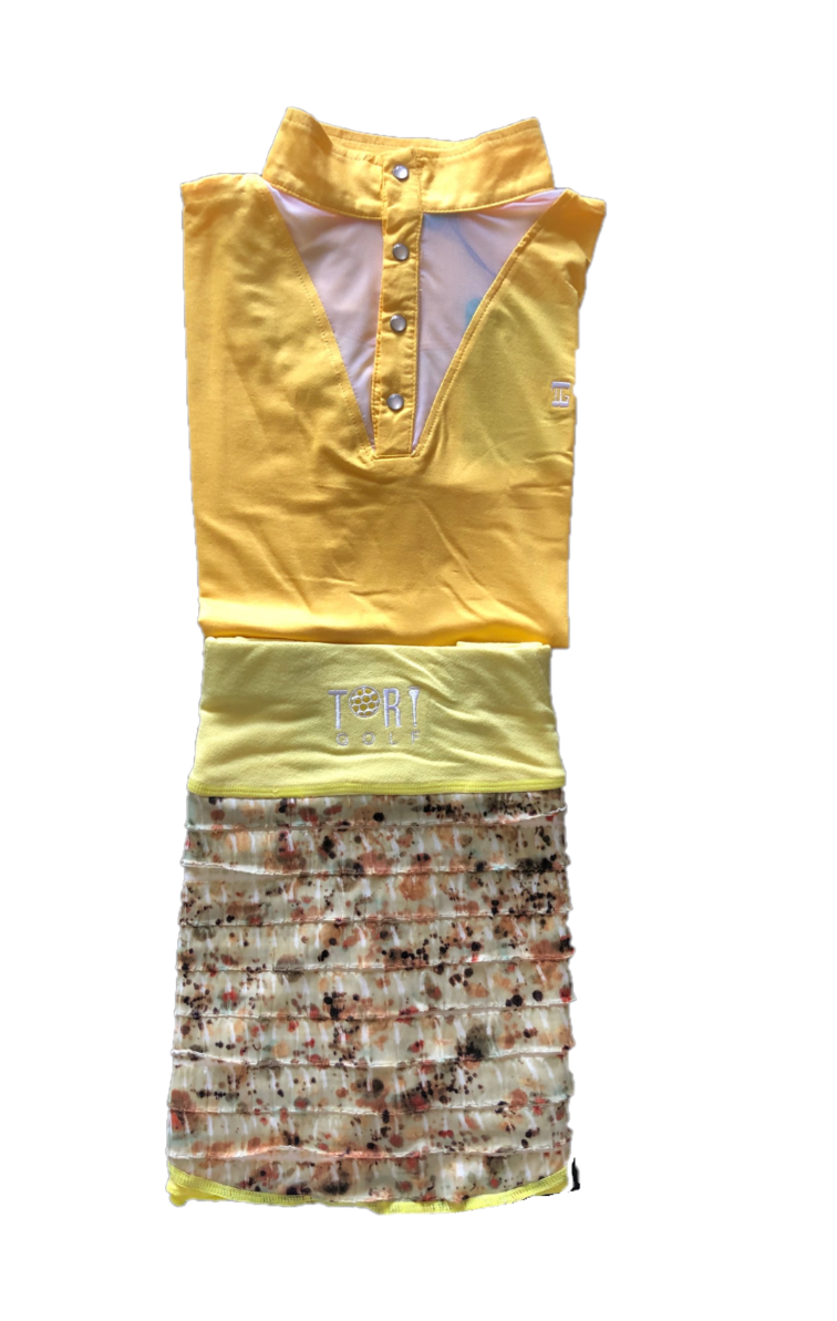 LGS-015    Ladies Set Top Bright Yellow Short Brown & White Motif Sleeves Button Mandarin Collar White Neck V Inset – Skirt Pale Lemon With White And Dark Brown Horizontal Flouncess – 2 Side And One Rear Waste Zip Pocket