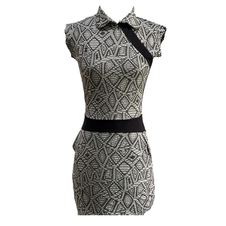 GD-011A    Golf Dress Ultra Short Sleeve Black, Green & Brown Modern Batik  With Black Waist Sash & Shoulder Slash