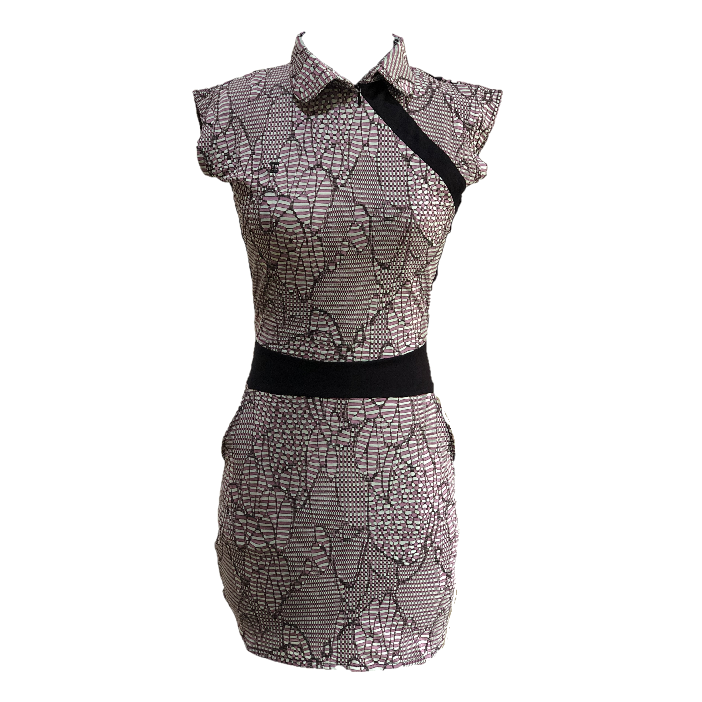 GD-011B    Golf Dress Ultra Short Sleeve Pale Green With Mauve & Brown Modern Batik Black Waist Sash & Shoulder Slash