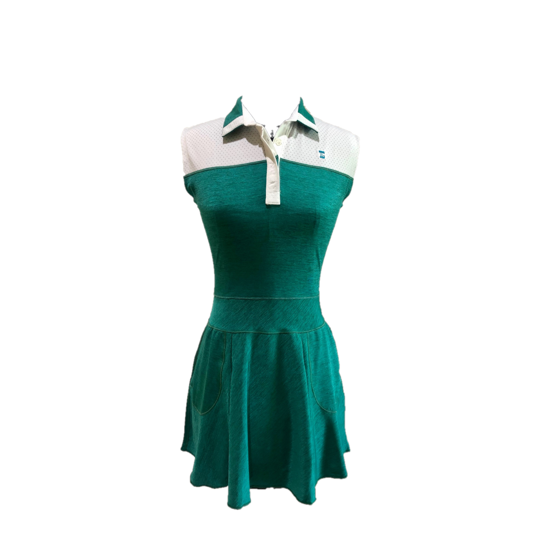 GD-013    Golf Dress Sleeveless Mid Green Textured Cloth White Shoulder Panel And Green & White Collar / Neck Trim