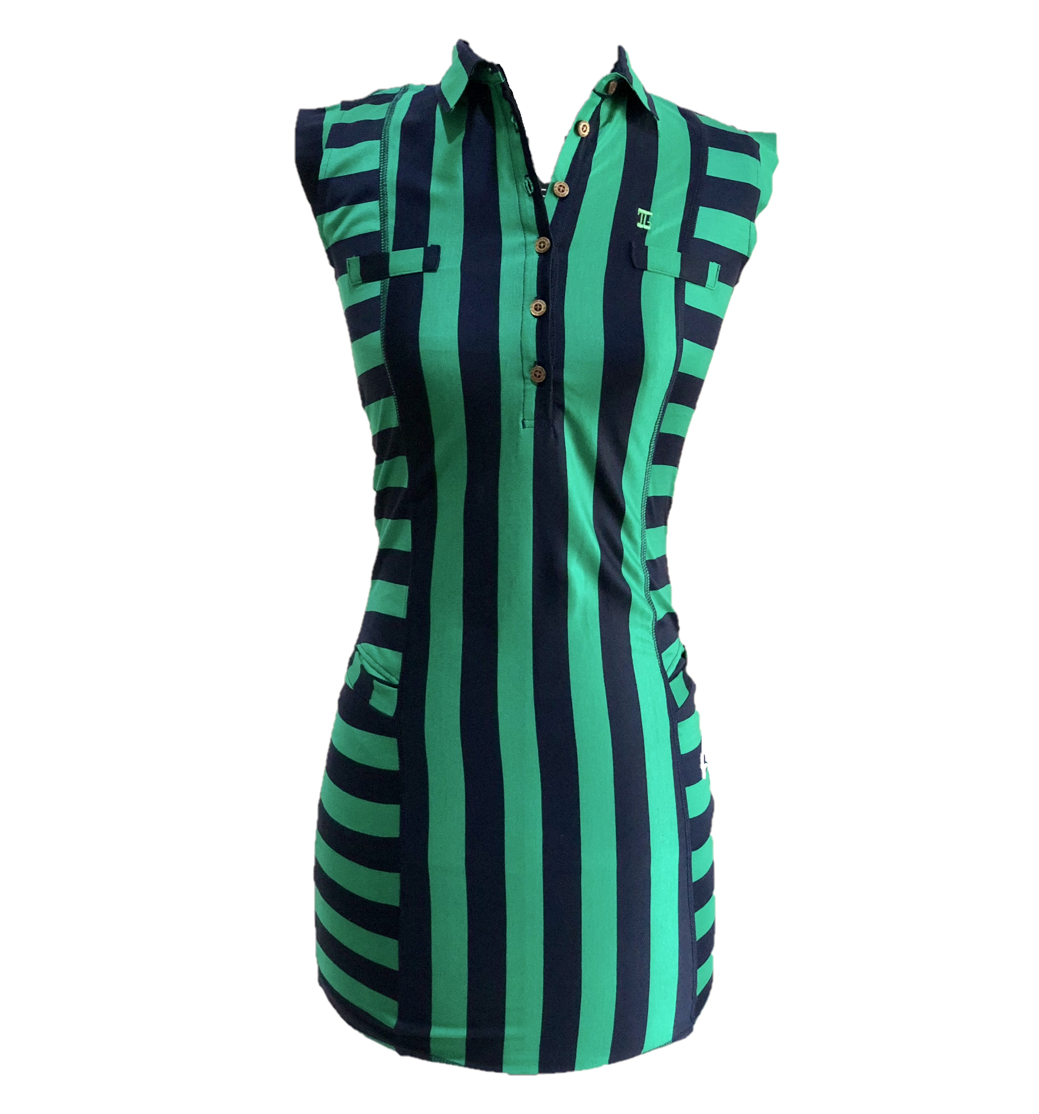 GD-014B    Golf Dress Ultra Short Sleeve Green With Navy Broad Vertical Front And Back Stripes Horizontal Sides