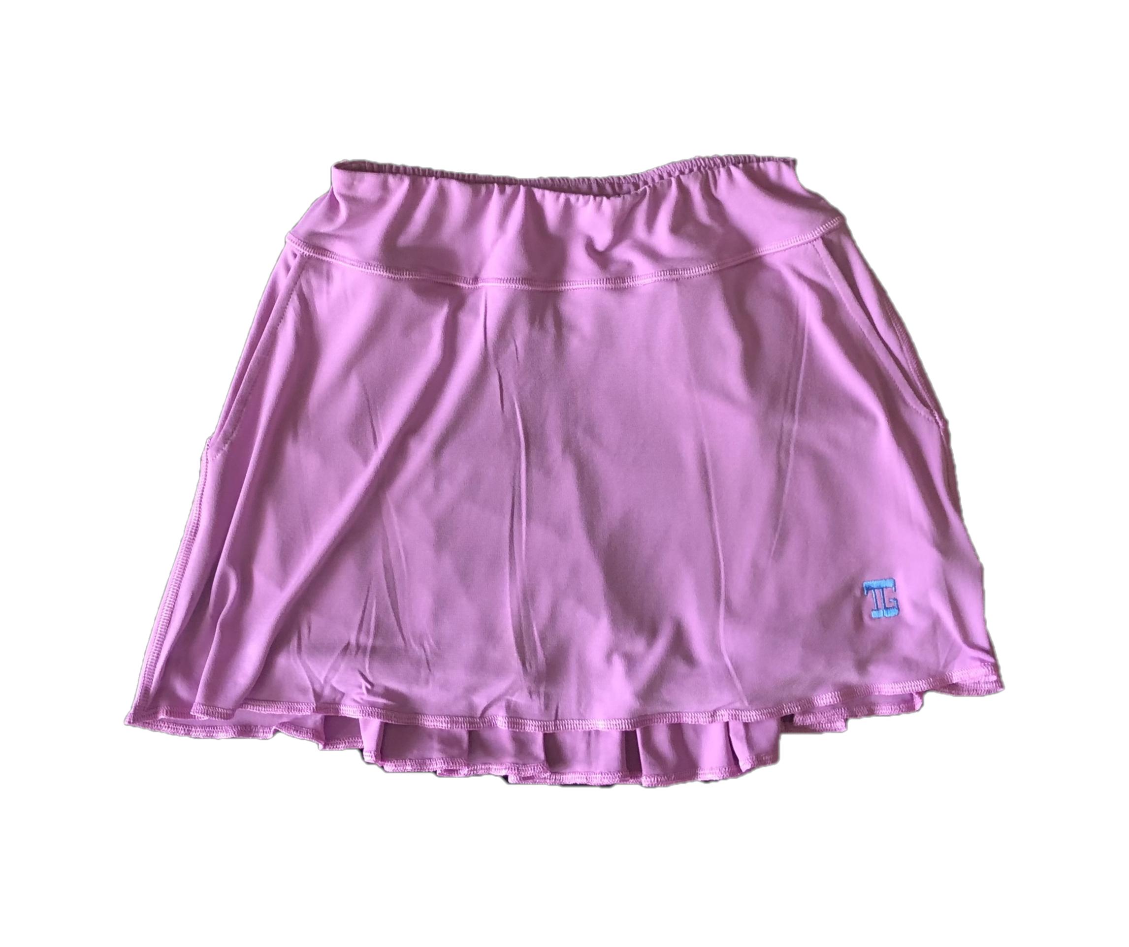 LS-042G    Skirt Soft Feel Lavender With Rear Swing Pleat Panel 2 Side Pockets & Light Green  Overlock Trim