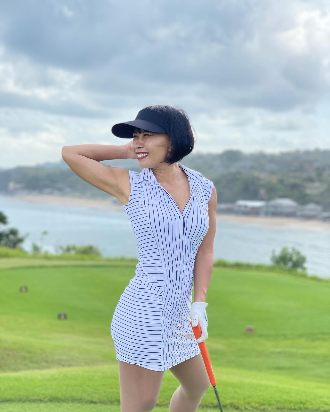 GD-014    Golf Dress Ultra Short Sleeve White With Navy Pinstripes Vertical Front And Back And Horizontal Sides