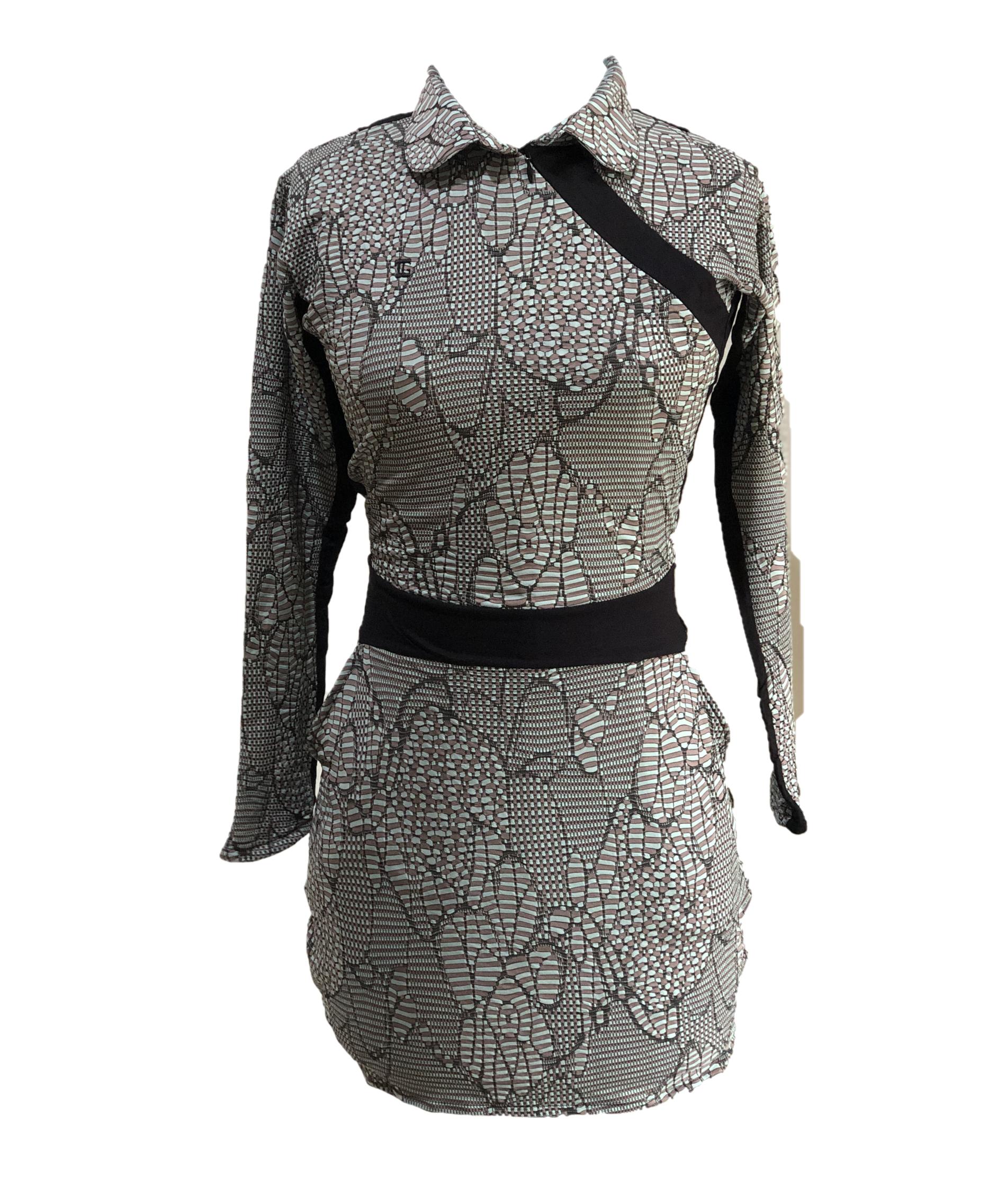 GD-010A    Golf Dress Long Sleeve Black, Green & Brown Modern Batik With Black Waist Sash & Shoulder Slash