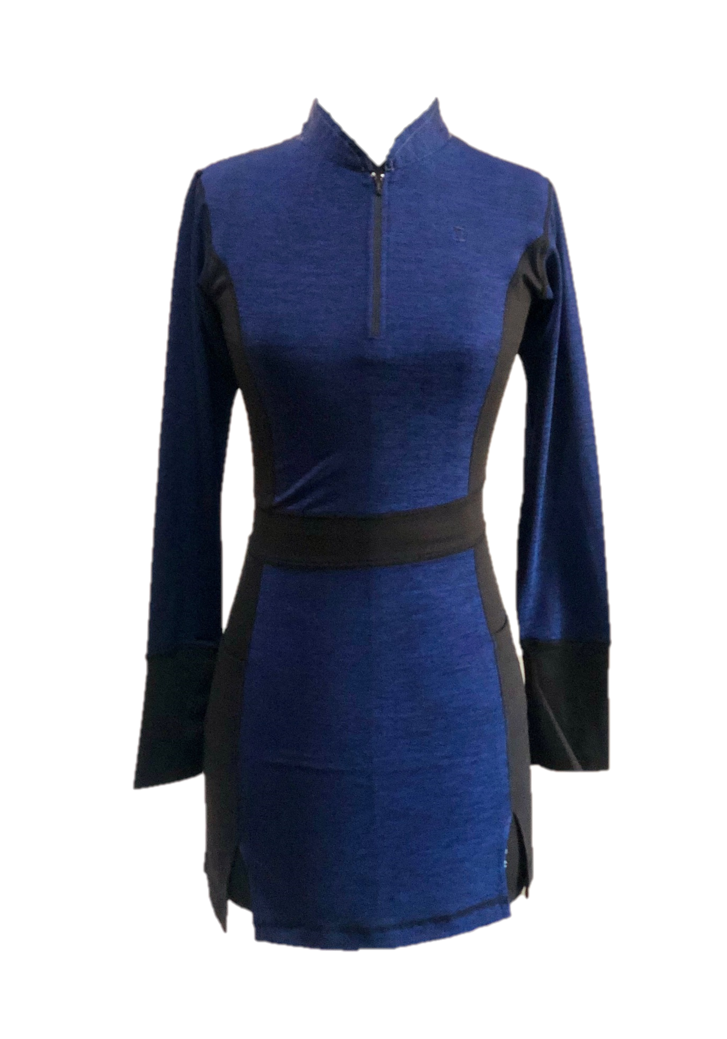 GD-016    Golf Dress Long Sleeved Navy Blue With Black Half Belted Waist Cuffs Underarm Side Panels Zippered Mandarin Type Collar With Peaked Back  Section